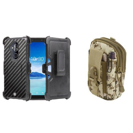 Tactical Carbon Fiber (BC Rugged Dual Layer Armor Kickstand Holster Case (Carbon Fiber) with Desert Camo Tactical EDC MOLLE Waist Bag Holder Pouch and Atom Cloth for T-Mobile REVVL 2 Plus)
