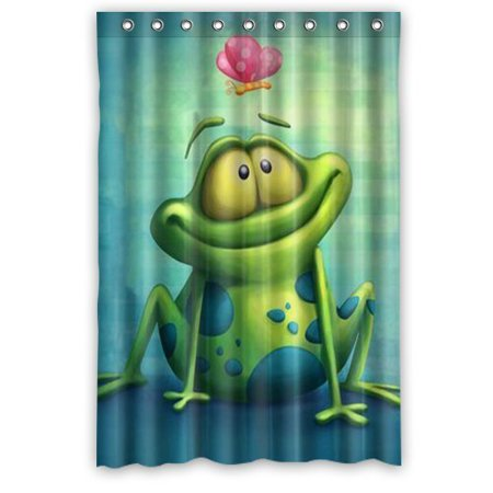 DEYOU Frog Shower Curtain Polyester Fabric Bathroom Size 48x72 Inches
