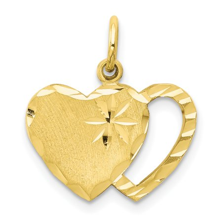 Womens 10k Gold Pendant - 10k Yellow Gold Solid Double Heart Pendant Charm Necklace Love Fine Jewelry For Women Gift Set