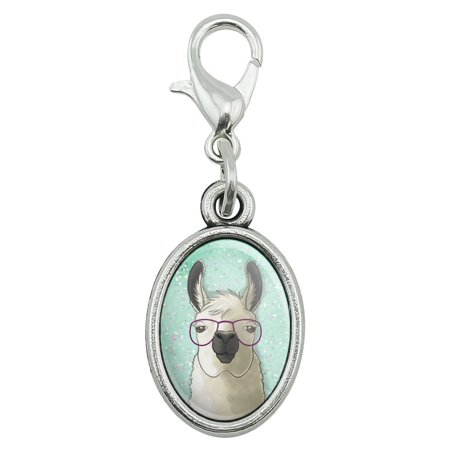 Hip Llama with Glasses Antiqued Bracelet Pendant Zipper Pull Oval Charm with Lobster