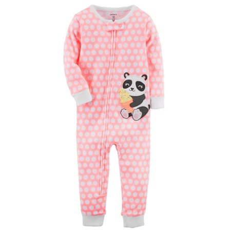 Carter's Baby Girls' 1-Piece Neon Panda Snug Fit Cotton Footless PJs, 12 Months (Neon Noodle)