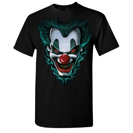 Psycho Clown Joker Face Men's T-shirt Funny Halloween 2017 Costume Tee Black Small - Famous Couples 2017 Halloween