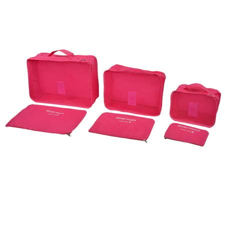 202cdc3f0c7b Unique Bargains Travelling Clothes Sorting Bag Storage Pouch Luggage  Organizer Fuchsia 6 in 1