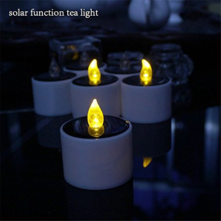 Youngerbaby 6 Pieces Yellow Flicker Solar Power Led Light Candles Flameless Electronic Solar Led Lamp Nightlight Powered Plastic Solar Energy Candle For Outdoor Camping Emergency