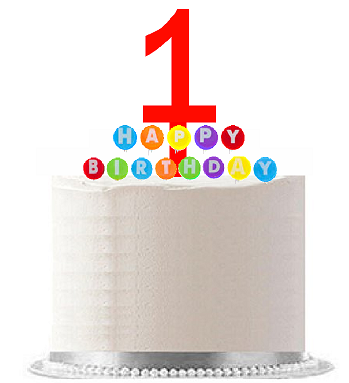 Item#001WCD - Happy 1st Birthday Party Red Cake Topper & Rainbow Candle Stand Elegant Cake Decoration Topper Kit