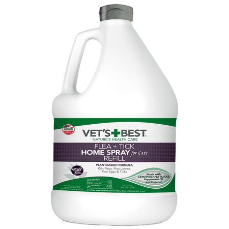 Vet's Best Flea and Tick Home Spray for Cats | Flea Treatment for Cats and Home | Flea Killer with Certified Natural Oils | 96 Ounces