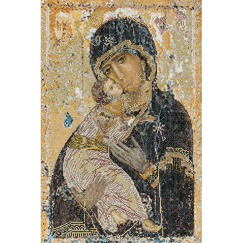 Thea Gouverneur Counted Cross-Stitch Kit, Our Lady of Vladimir