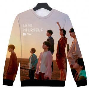8bdb10f4 Fancyleo Women BTS Fans Hoodie 3D Print Love Yourself Tear Baseball Jacket  Digital Print Pullover Cool KPOP Sweatshirt