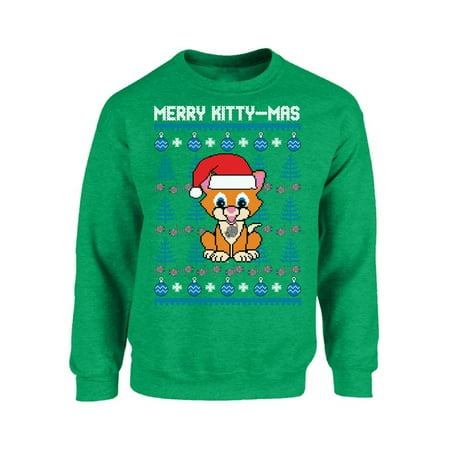 Mezee Merry Kittymas Christmas Sweatshirt Funny Christmas Sweaters for Cat Lovers Santa Cat Ugly Christmas Sweater Meowy Christmas Ugly Sweatshirt Holiday Gifts (Ugly Cat Sweater)