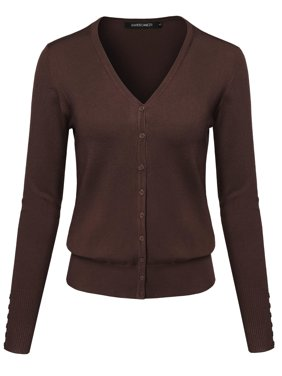 FashionOutfit Women's Basic Solid V-Neck Button Closure Long Sleeves Sweater Cardigan