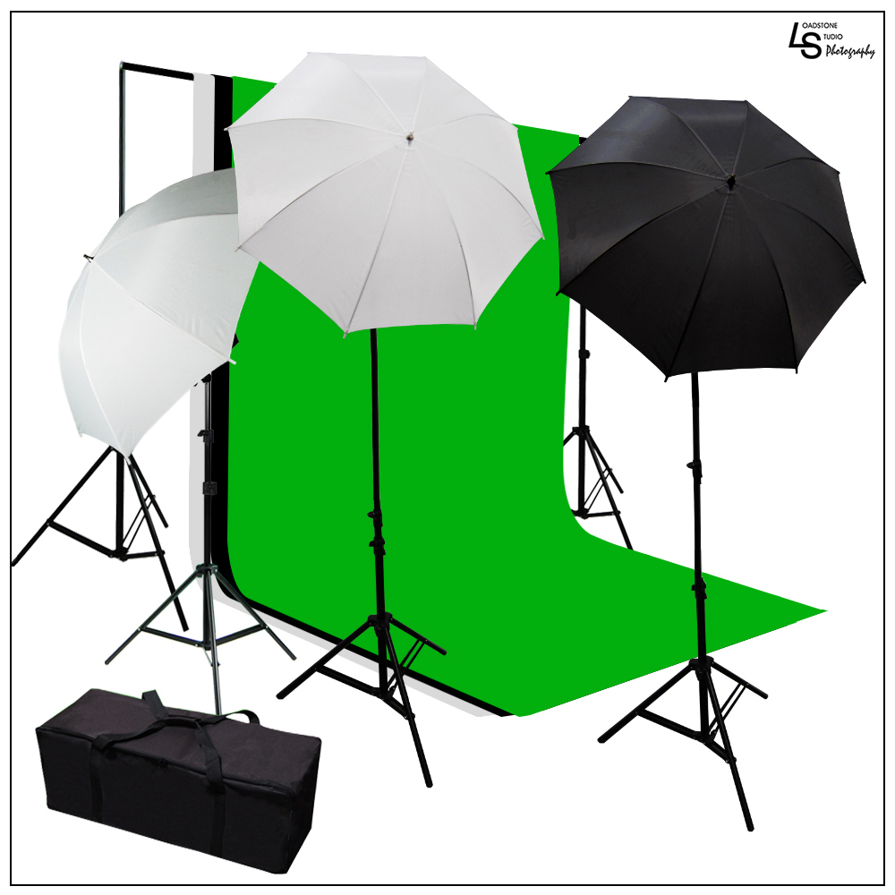 Photo Video Chroma Key Muslin Backdrop Umbrella Light Kit with Background Support Stand System and Case by Loadstone Studio WMLS0616