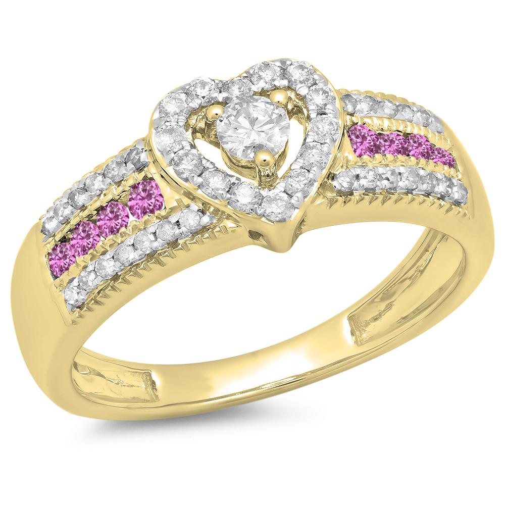 Dazzling Rock 14K Gold Round Cut Pink sapphire & White Di...