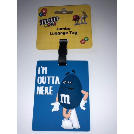M&M'S M&M's World Character Blue I'm Outta Here Jumbo Luggage Tag New with Tags