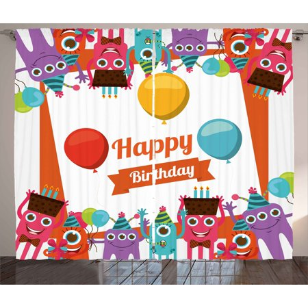 Birthday Decorations Curtains 2 Panels Set, Funny Happy Monsters Holding Chocolate Cakes Party Horns Kids Room, Window Drapes for Living Room Bedroom, 108W X 90L Inches, Multicolor, by Ambesonne