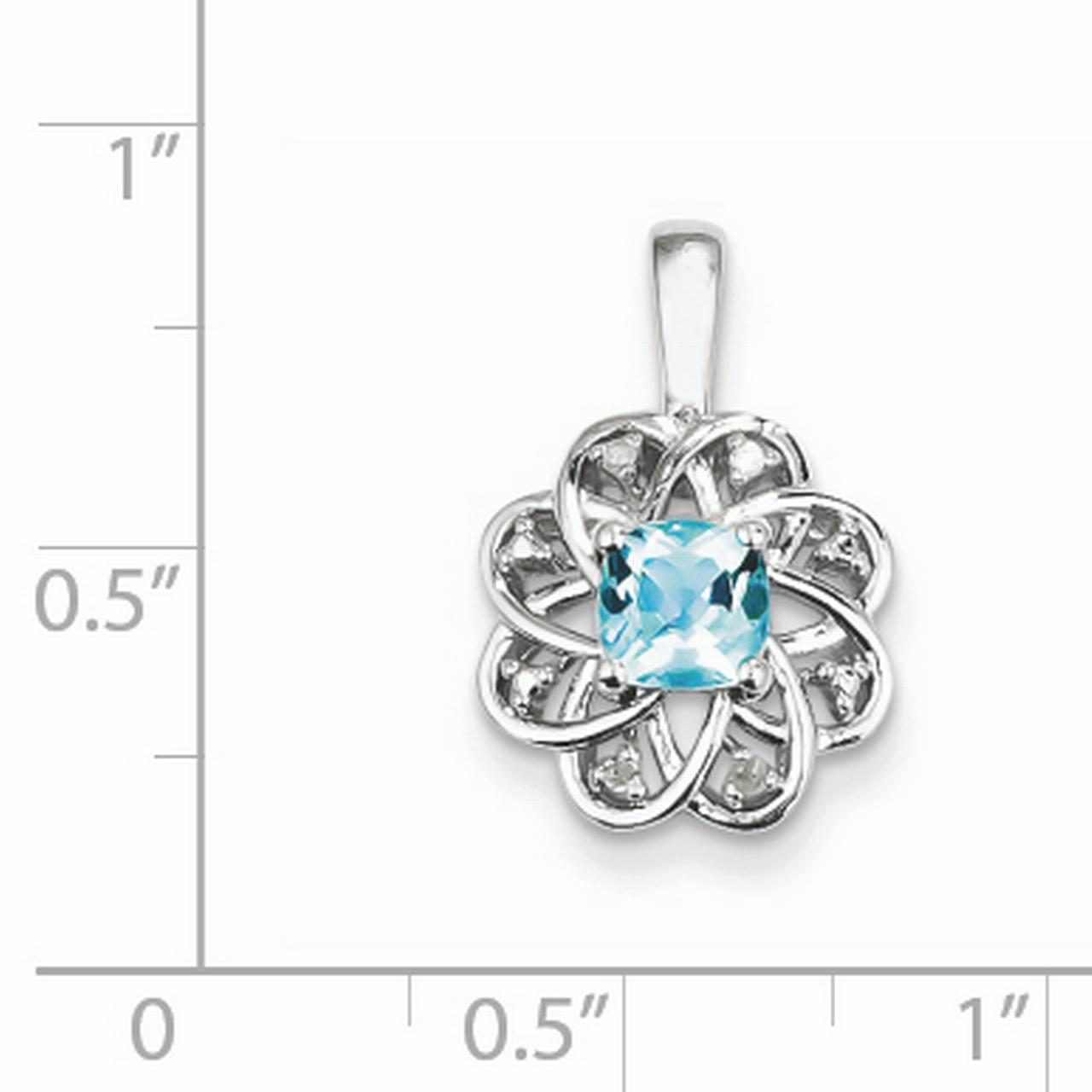 925 Sterling Silver Rhodium Plated Diamond and Light Blue Topaz Pendant - image 1 of 2