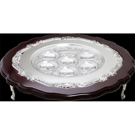 Nua Collection 12362 Seder Plate in Wood & Silver Plated Stands  3 in.