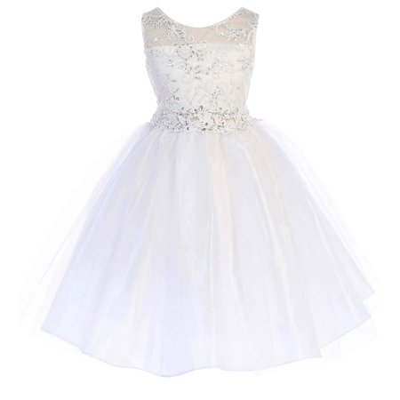 Little Girls Embroidered Rhinestone Ribbon Holy Communion Flower Girl Dress White Size 2 (G3592G)