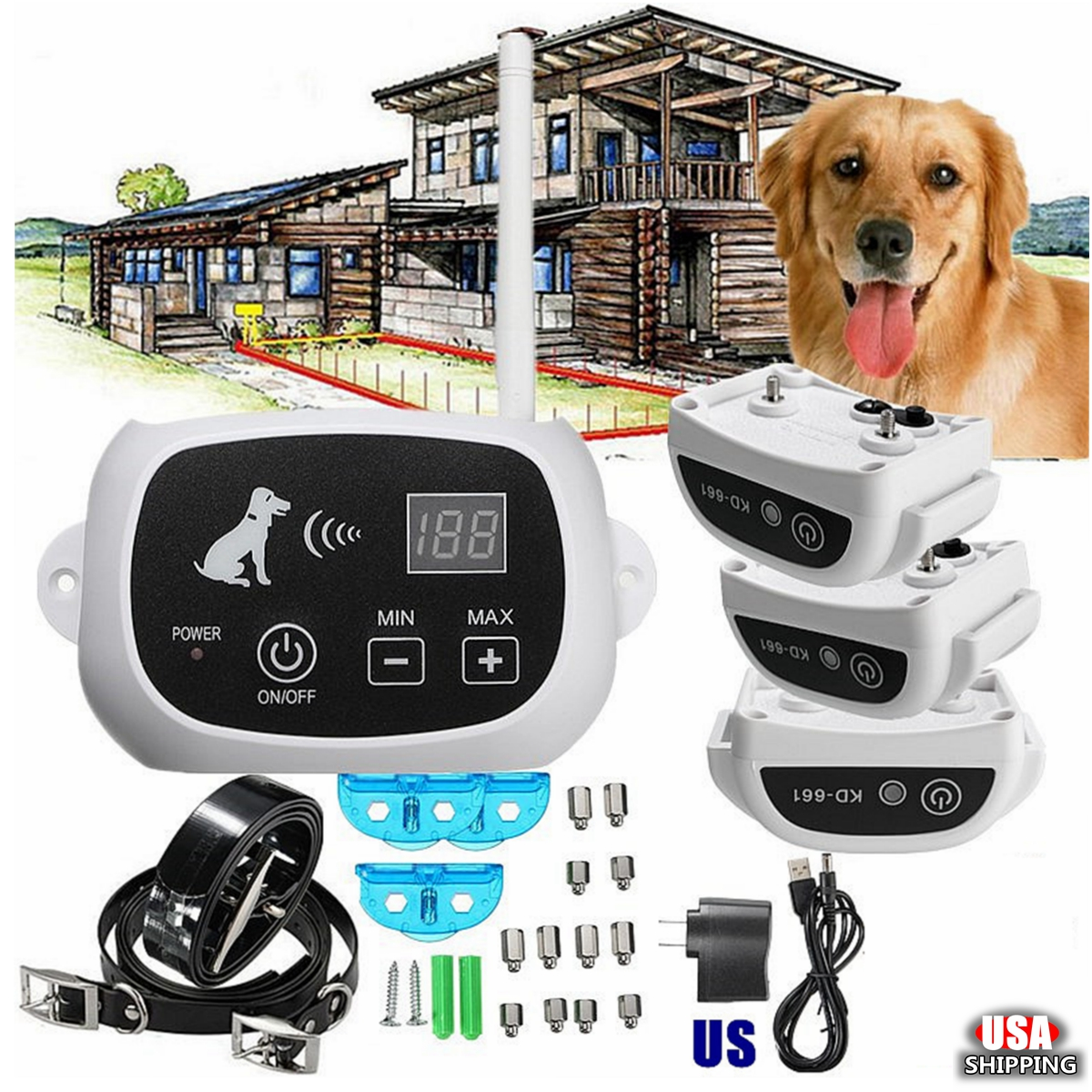 ELEGIANT Wireless Remote 3 Dog Fence No-Wire Training Pet Containment System Rechargeable,US plug color US Plug