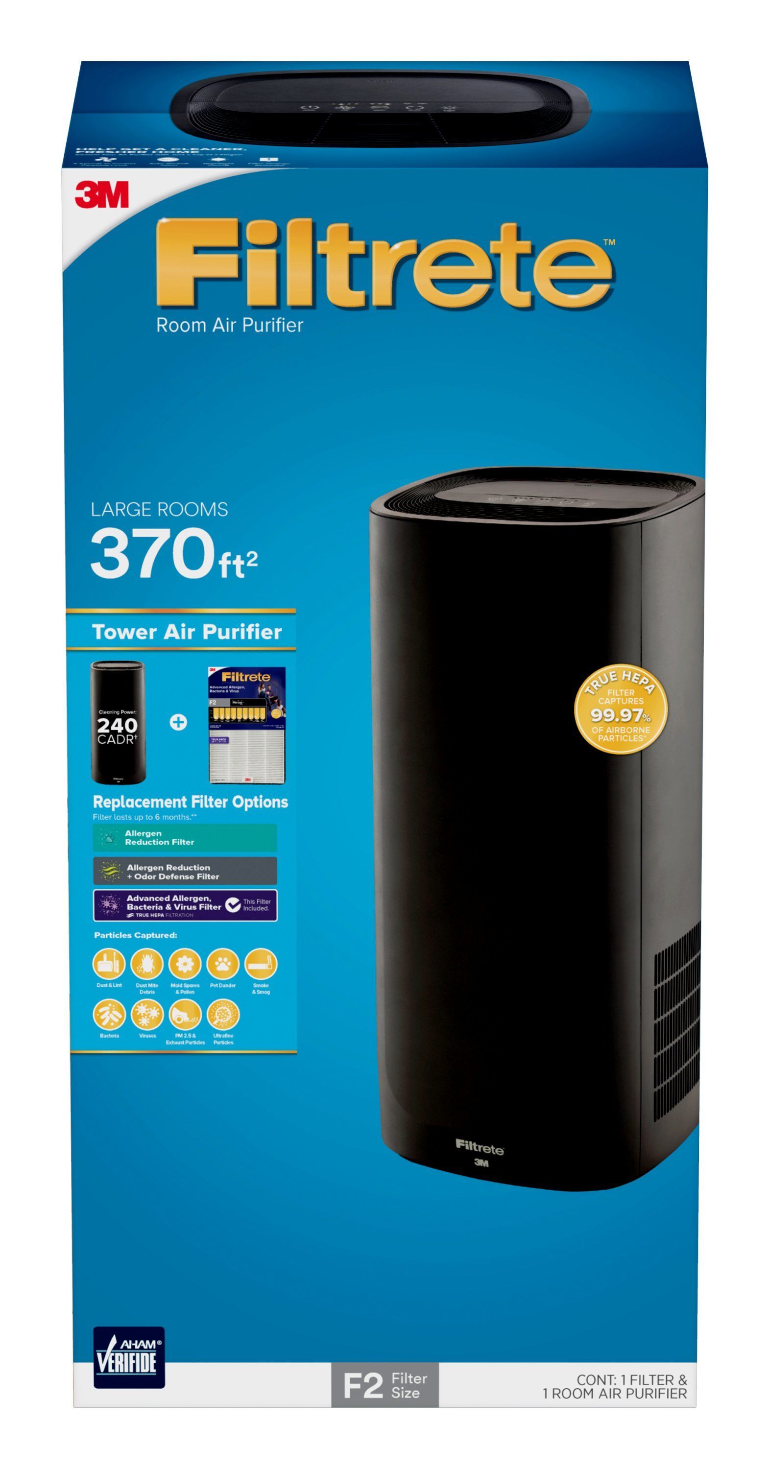 Filtrete By 3M Room Air Purifier, Tower, Large Room, Black, FAP T03 F2