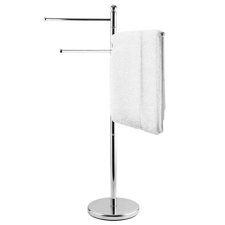 MyGift Modern Stainless Steel 3 Swivel Arm Towel Holder Rack, Freestanding Hand Towel Bar Stand