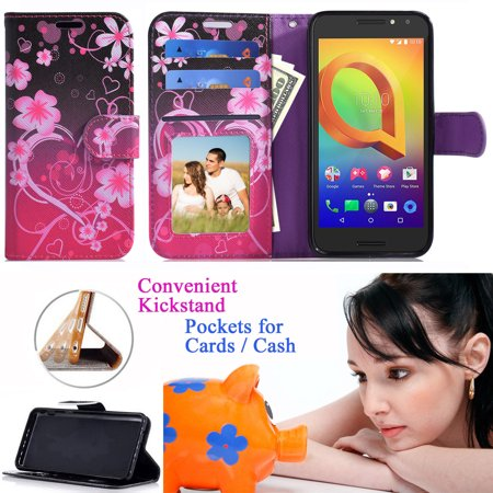 "for 4"" ZTE SAPPHIRE 3G N818s QLINK WIRELES Case Phone Case Designed Wallet Grip Textured Kick stand Hybrid Pouch Pocket Purse Screen Flip Cover Big Heart"