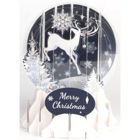 Up With Paper Reindeer Silhouette Snow Globe Pop Up Christmas (Silhouetted Against Snow)