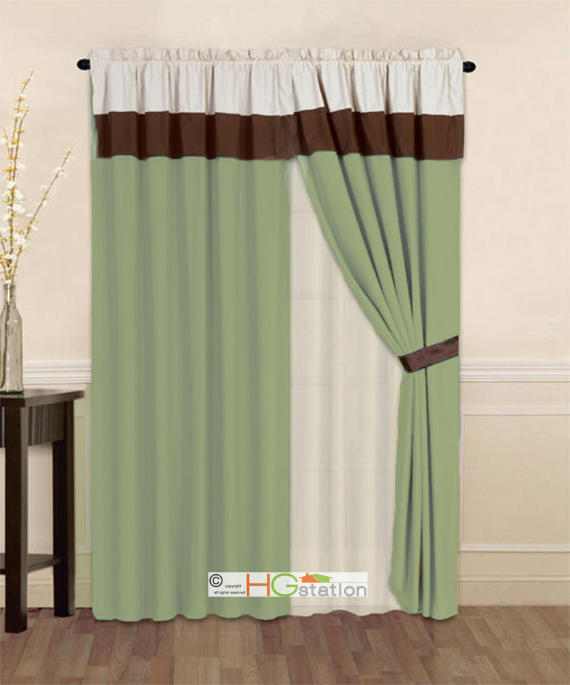 4-Pc Striped Solid Modern Curtain Set Sage Green Brown Beige Valance Liner Drape
