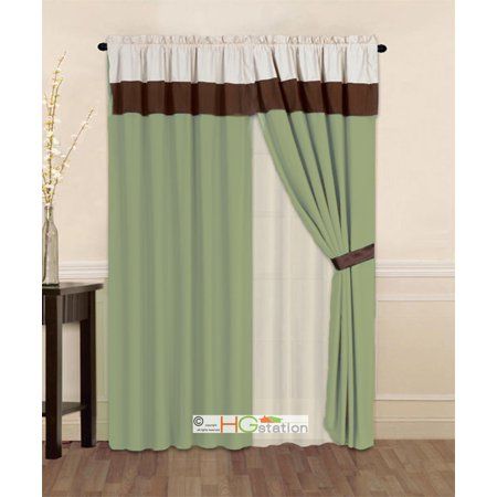 4-Pc Striped Solid Modern Curtain Set Sage Green Brown Beige Valance Liner Drape Tieback