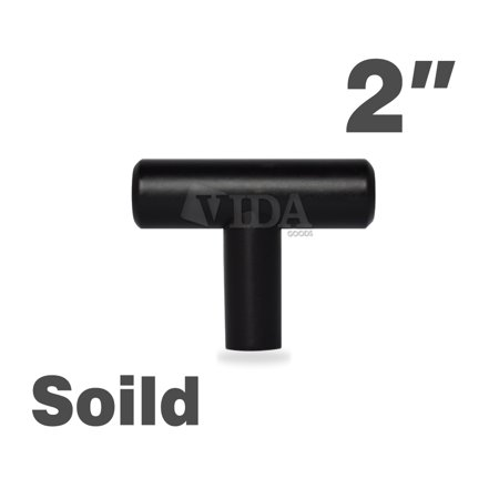 "Vidagoods 2"" Matte Black Kitchen Cabinet and Drawer T Bar Pull Handles (More size/styles available)"