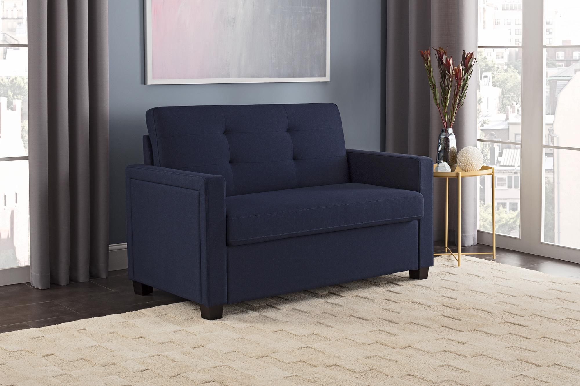 - Better Homes & Gardens Porter Loveseat Sleeper Sofa, Blue Linen