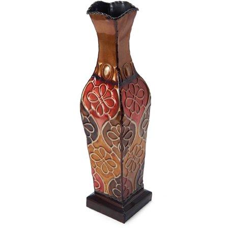 Elements 17 Inch Tall Embossed Metal Floral Harlequin Vase (Vase Floral Pattern)