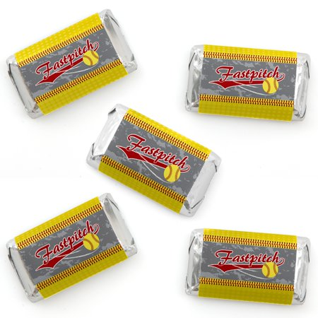 Grand Slam - Fastpitch Softball - Mini Candy Bar Wrapper Stickers - Birthday Party or Baby Shower Small Favors - 40 Coun - Softball Party Favors
