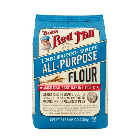 (3 Pack) Bobs Red Mill Unbleached White All Purpose Flour, 48 Oz