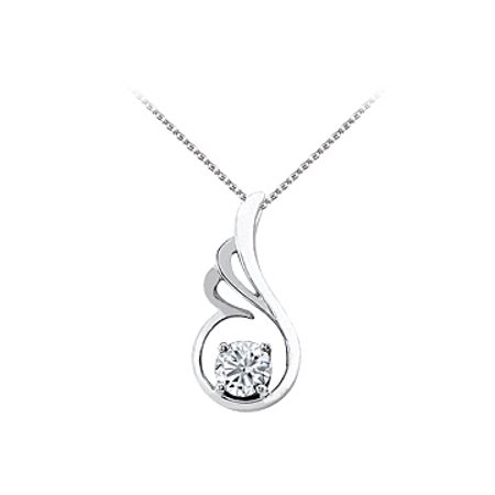 Cubic Zirconia Pendant in 925 Sterling Silver with Free