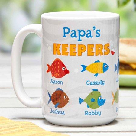 Personalized Keeper Fish White 15 oz Coffee Mug - Personalize Mug