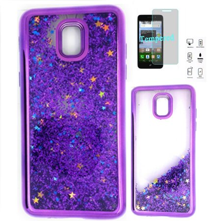Phone Case for Samsung Galaxy J3 Star, J3 2018, J3 Eclipse 2, J3 Orbit, J3 Achieve, J3 Express Prime 3, Galaxy J3 Prime 2, Galaxy Amp Prime 3, Glitter Liquid Motion Clear TPU Cover Case (Purple)