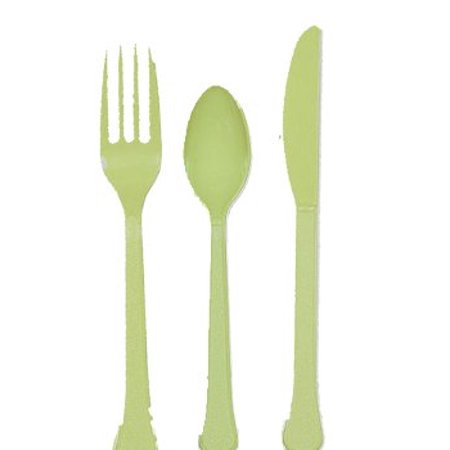 Assorted Leaves - Leaf Green Plastic Assorted Cutlery - 24 ct.