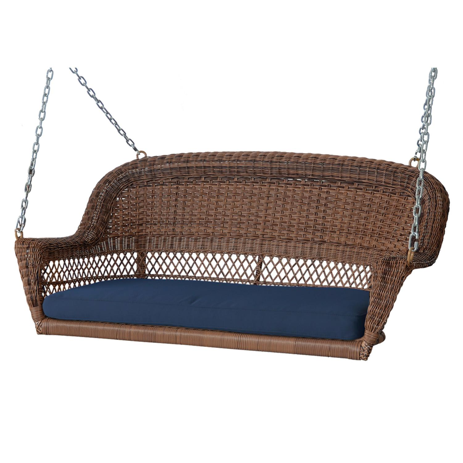 "51.5"" Hand Woven Honey Brown Resin Wicker Outdoor Porch Swing with Blue Cushion by CC Outdoor Living"