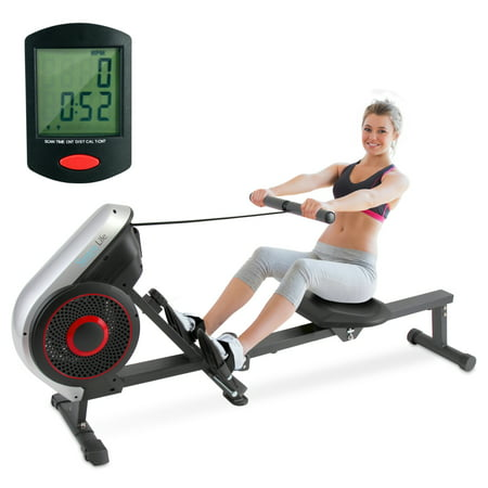 SereneLife SLRWMC18 - Sports Training Row Machine - Smart Rowing Machine with Computer Exercise Monitor, Portable Folding Style, Adjustable Resistance
