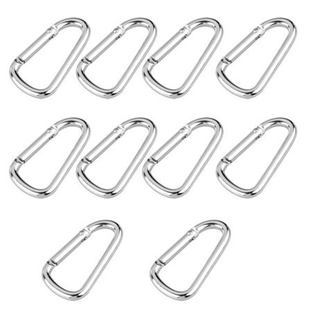 "10x Chrome Carabiners Camping Spring Clip Keychain Key Ring Hiking 2.25"" x 1.25"""
