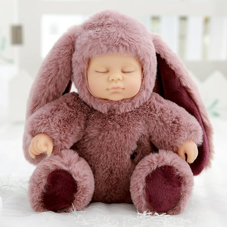 11 inch Real Life Reborn Babies Doll Soft Silicone Realistic Long Ear Baby Plush Dolls for Baby Toys Thanksgiving Christmas Birthday Gift