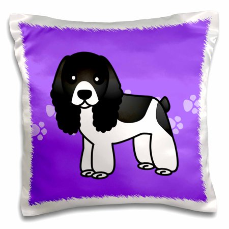 3dRose Cute Black and White Cocker Spaniel Purple with Pawprints - Pillow Case, 16 by 16-inch
