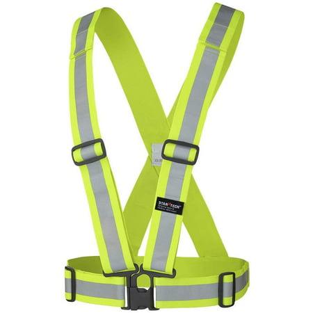 """HI-VIZ Yellow/Green 2"""" ADJUSTABLE SAFETY SASH - 4 POINT TEAR-AWAY - HANGABLE BAG  - image 1 de 1"""