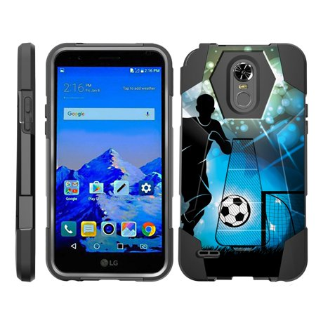 TurtleArmor ® | For LG Stylo 3 | LG Stylus 3 | LG Stylo 3 Plus [Dynamic Shell] Dual Layer Hybrid Silicone Hard Shell Kickstand Case - Soccer Player Graphic ()