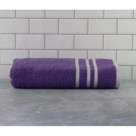Mainstays Basic Bath Collection - Single Bath Towel, Purple Stripe