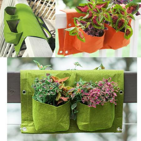 BloemBagz Deck Rail 4-Pocket Hanging Planter Bag Honey Dew
