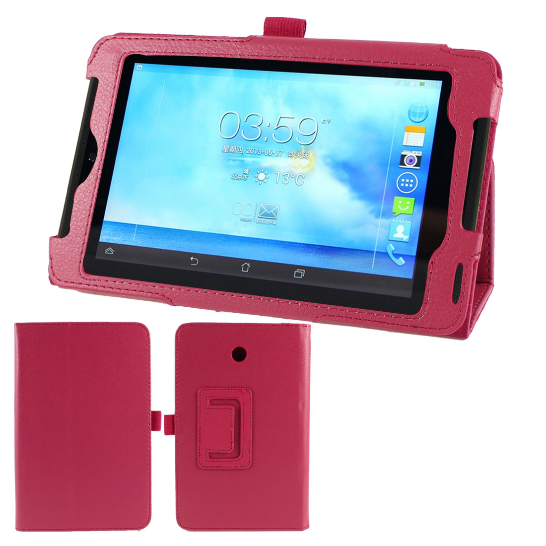 Unique Bargains Red Faux Leather Flip Folio Stand Case Cover for ASUS FonePad 7 ME372CG