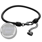 Charm Bracelet For Women, Black Stainless Steel Snake Chain, Fits Pandora Charms, Lobster Claw Clasp, 7.5 Inch (19 cm)