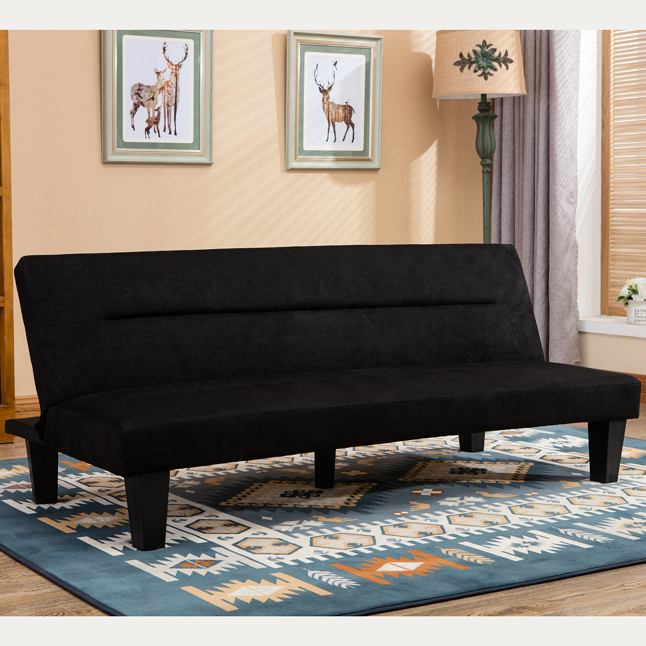 Belleze Premium Convertible Sofa Futon, Microfiber Couch Bed W/ Legs  Multifunctional Adjustable  Black