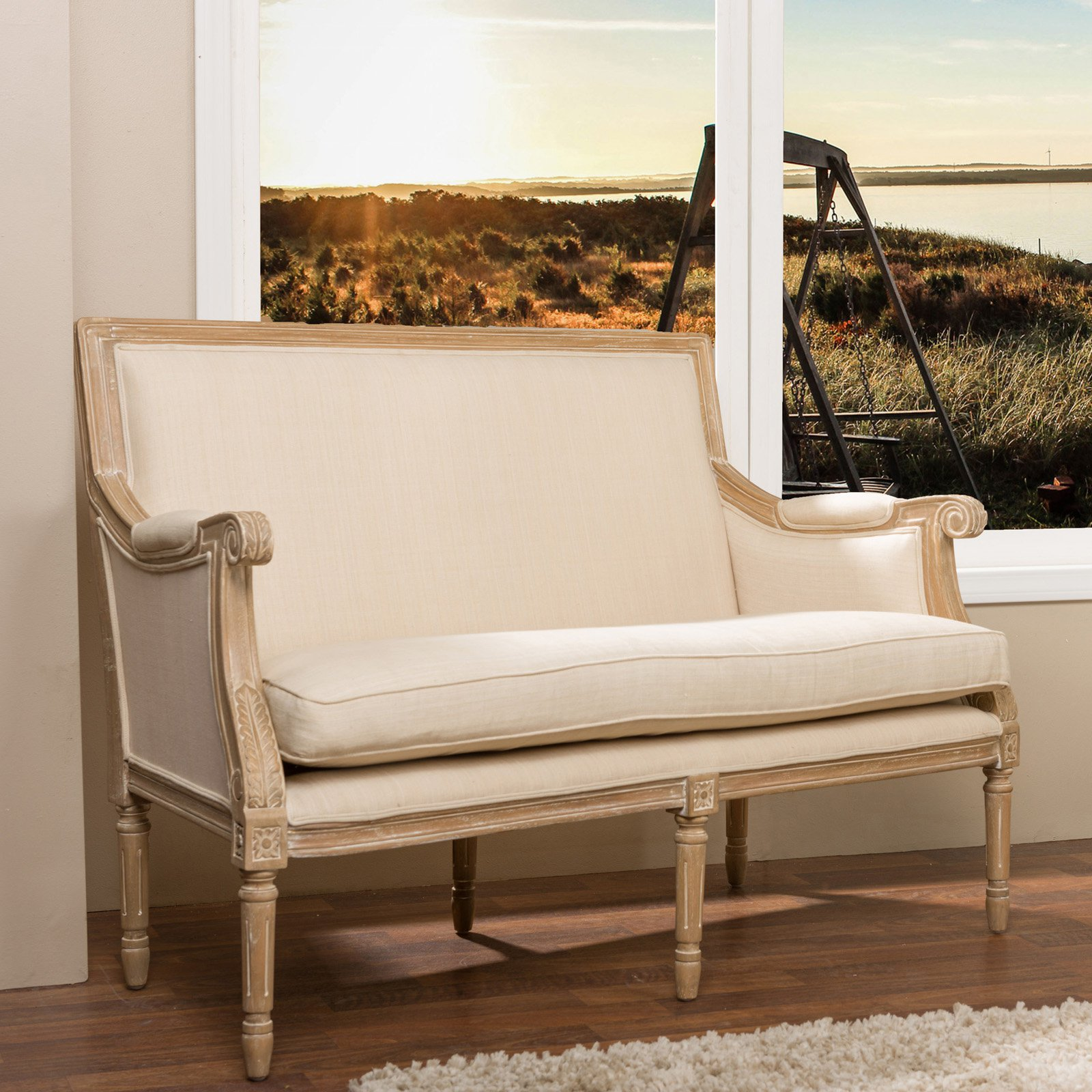 Chavanon Wood and Light Beige Linen Traditional French Loveseat